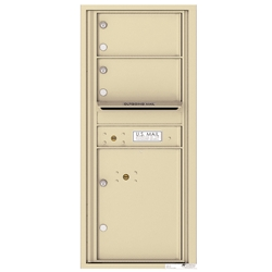 2 Tenant Doors with 1 Parcel Locker and Outgoing Mail Compartment - 4C Recessed Mount versatile™ - Model 4C11S-02