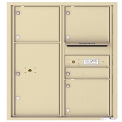4 Tenant Doors with 1 Parcel Locker and Outgoing Mail Compartment - 4C Recessed Mount versatile™ - Model 4C09D-04