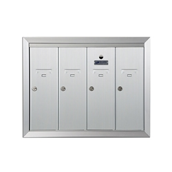 Four Compartment - 1200 Series Vertical Recessed Mount USPS Replacement Approved - Apartment Style Mailboxes - Model 12504HA