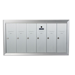 Six Compartment - 1200 Series Vertical Recessed Mount USPS Replacement Approved - Apartment Style Mailboxes - Model 12506HA