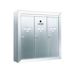 Three Compartment - 1200 Series Vertical Surface Mount USPS Replacement Approved - Apartment Style Mailboxes - Model 12503SMSHA