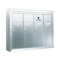 Four Compartment - 1200 Series Vertical Surface Mount USPS Replacement Approved - Apartment Style Mailboxes - Model 12504SMSHA
