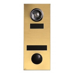 Mechanical Door Chime - Anodized Gold - with Wide-Angle Lens, Viewer Option, ID Plate and Name Plate - Model 686102-01