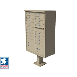 Florence vital™ CBU mailbox and pedestal (included in each mailbox purchase) provides a secure, free standing outdoor solution for your neighborhood centralized mail delivery needs. Pre-configured units include built-in parcel lockers and outgoing mail collection for added convenience and can be used alone or in large groupings to accommodate every project type.
