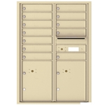 12 Tenant Doors with 2 Parcel Locker and Outgoing Mail Compartment - 4C Recessed Mount versatile™ - Model 4C12D-12