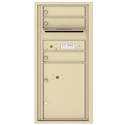 3 Tenant Doors with 1 Parcel Locker and Outgoing Mail Compartment - 4C Recessed Mount versatile™ - Model 4CADS-03