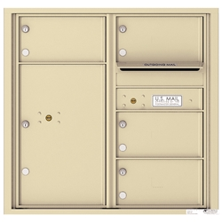 4 Tenant Doors with 1 Parcel Locker and Outgoing Mail Compartment - 4C Recessed Mount versatile™ - Model 4C08D-04