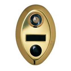Oval Shape Mechanical Door Chime - Anodized Gold - with Fire Rated Viewer and Name Slot - Model 690-UL